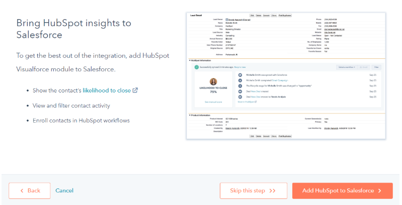 Add HubSpot to Salesforce.
